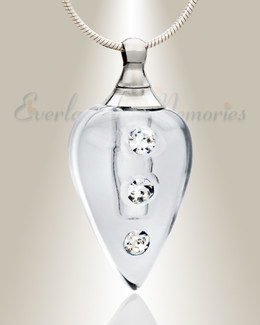 Glass Locket Clear Merriment Necklace Urn