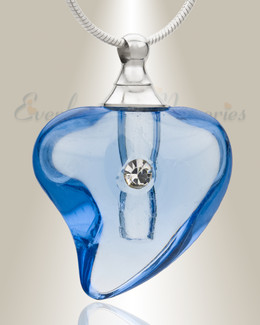 Glass Locket Blue Lovely Cremation Jewelry
