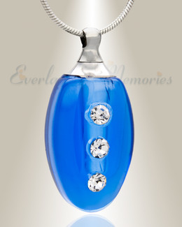 Glass Locket Blue Forever Cremation Jewelry