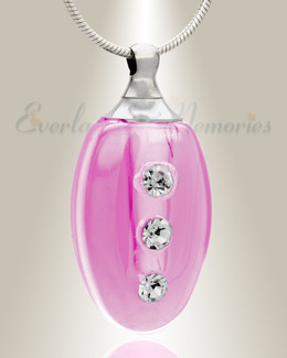 Glass Locket Pink Forever Cremation Jewelry