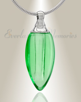 Glass Locket Green Tears Cremation Jewelry