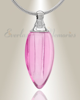Glass Locket Pink Tears Cremation Jewelry