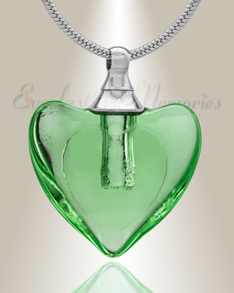 Glass Locket Green Hearts Cremation Jewelry