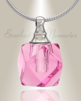 Glass Locket Pink Cubix Cremation Jewelry