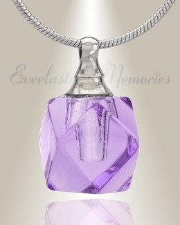 Glass Locket Violet Cubix Cremation Jewelry