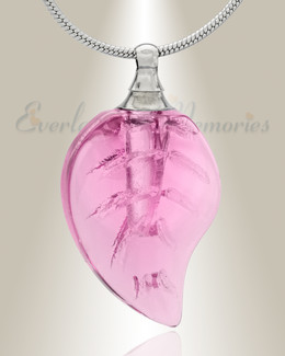 Glass Locket Pink Leaf Cremation Jewelry