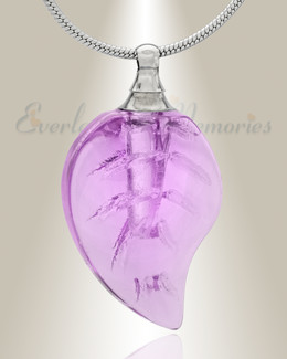 Glass Locket Violet Leaf Cremation Jewelry