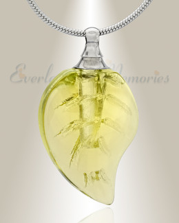 Glass Locket Yellow Leaf Cremation Jewelry
