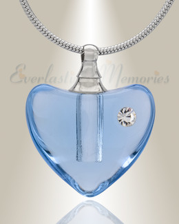 Glass Locket Blue Heartfelt Cremation Jewelry
