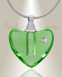 Glass Locket Green Heartfelt Cremation Jewelry