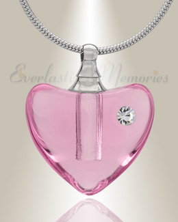 Glass Locket Pink Heartfelt Cremation Jewelry