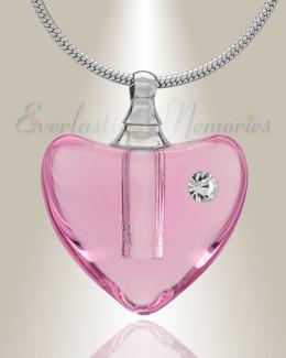 Glass Locket Pink Heartfelt Cremation Jewelry