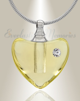 Glass Locket Yellow Heartfelt Cremation Jewelry