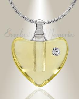 Glass Locket Yellow Heartfelt Cremation Jewelry