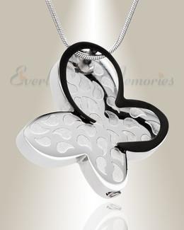 Silver Wakeful Butterfly Urn Pendant