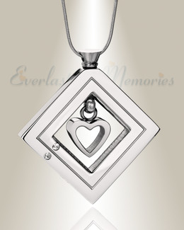 Silver Enchanting Heart Urn Pendant