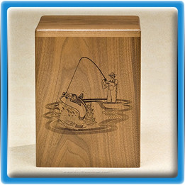 Cast a Line Wood Urn