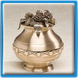Bountiful Roses Bronze Urn