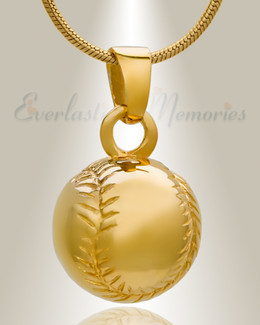 Gold Plated Baseball Jewelry Urn