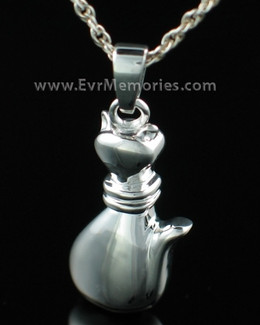 Sterling Silver Cat Jewelry Urn