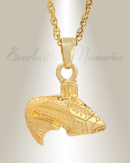 Gold Vermeil Fish Cremation Cremation Urn Keepsake