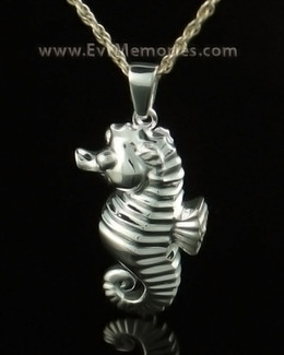 14K White Gold Seahorse Cremation Memorial Urn Jewelry