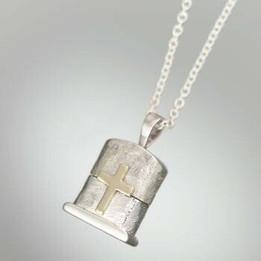 Silver & 14K Gold Cross Cachet Jewelry Urn