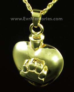 14K Gold Plated Heart with Paw Jewelry Urn
