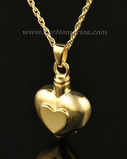 14k Gold Double Heart Cremation Keepsake