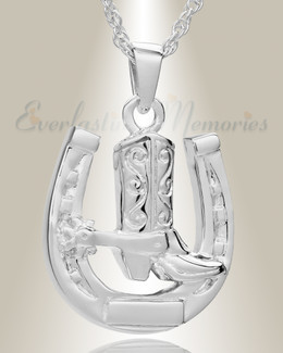 14K White Gold Giddy Up Cremation Keepsake