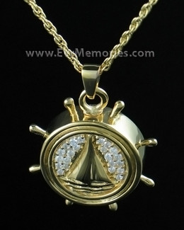 14K Gold Plated Captains Wheel Urn Necklace