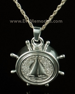 14K White Gold Captains Wheel Memorial Keepsake Pendant