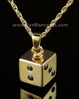 14K Gold Plated Dice Urn Keepsake