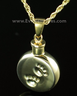 14K Gold Plated Pawprints Urn Necklace