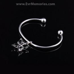 Sterling Silver Onyx Butterfly Cremation Bracelet