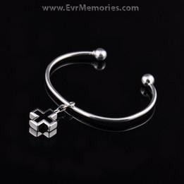Sterling Silver Onyx Cross Cremation Bracelet