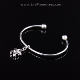 Sterling Silver Flower Cremation Bracelet