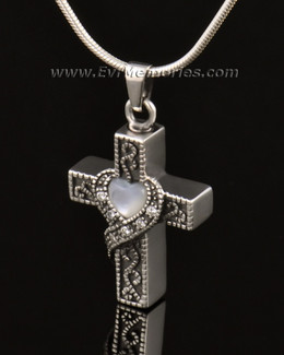14k White Gold Heart Cross Memorial Pendant