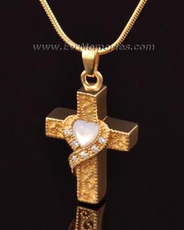 14k Gold Heart Cross Memorial Pendant