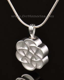 14k White Gold Celtic Flower Cremation Keepsake