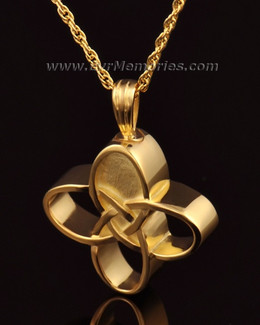 14k Gold Celtic Cherished Cross Urn Pendant