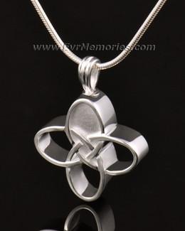 14k White Gold Celtic Cherished Cross Urn Pendant