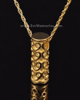 Gold Plated Lovely Cylinder Memorial Jewelry