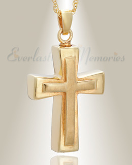 Gold Plated Double Cross Cremation Charm