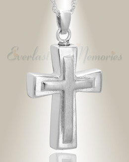 14k White Gold Double Cross Cremation Charm
