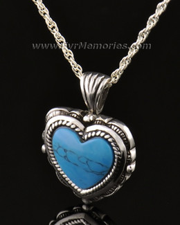 14k White Gold Heart Turquoise Jewelry Pendant