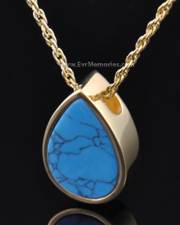 Gold Plated Turquoise Teardrop Jewelry