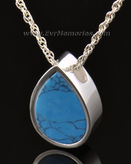 14k White Gold Teardrop Turquoise Jewelry Pendant