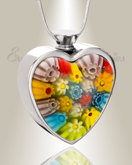 Patchwork Beauty Heart Cremation Locket