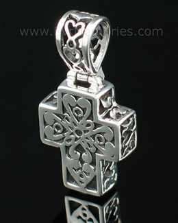 Sterling Silver Filigree Cross Cremation Urn Keepsake